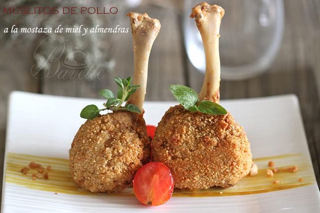 Pollo rebozado con mostaza a la miel y almendra