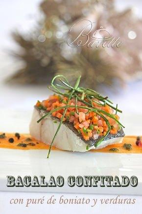 Bacalao confitado, con puré de boniato y verduras