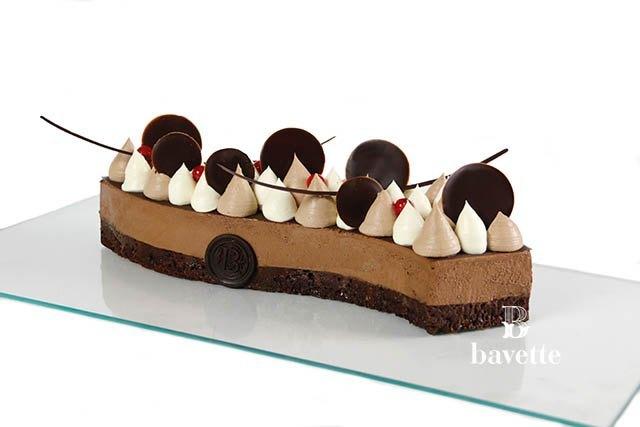 Brownie con mousse de chocolate y ganache montada