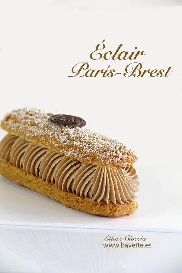 Éclair París-Brest con Mousseline de chocolate y crema de caramelo