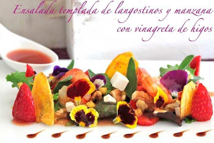 Ensalada templada de langostinos y manzana, con vinagreta de higos.