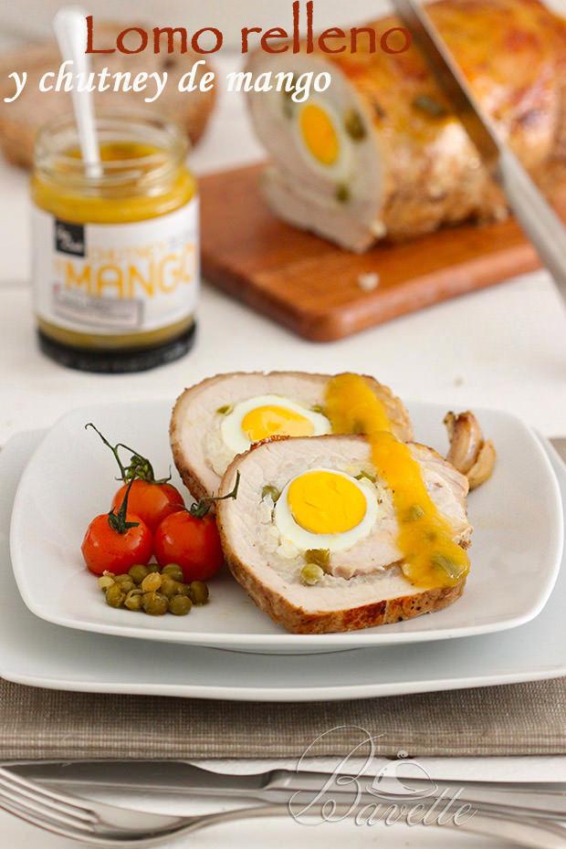 Lomo de cerdo relleno de arroz y huevos con chutney de mango