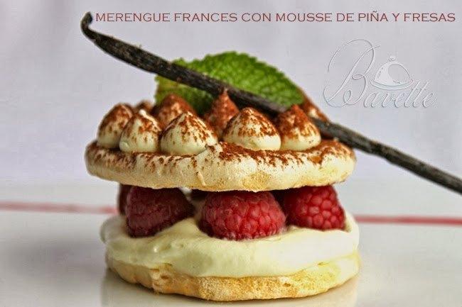 Merengue francés con mousse de piña