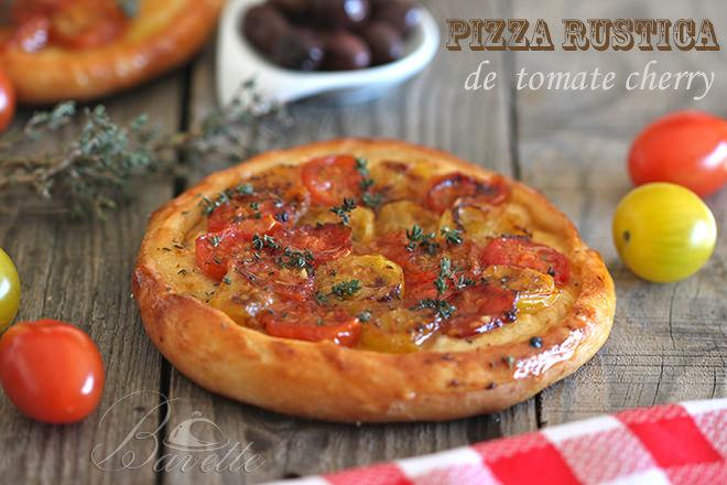 Pizza rústica de tomate cherry