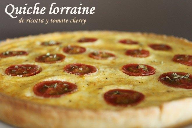 Quiche lorraine de ricotta y tomate cherry