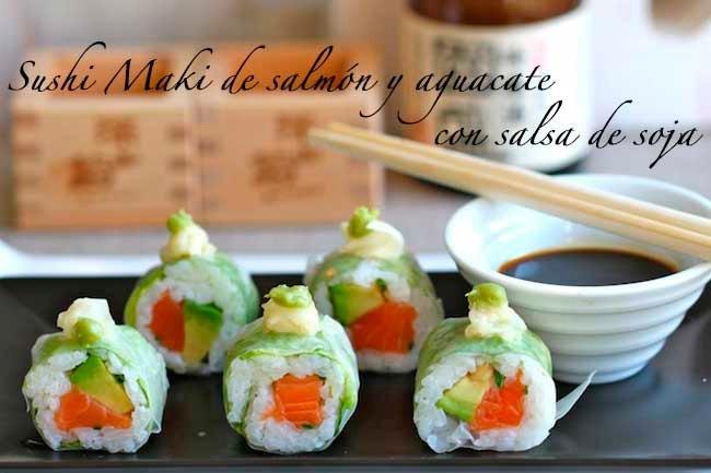 Sushi Maki de salmón y aguacate.